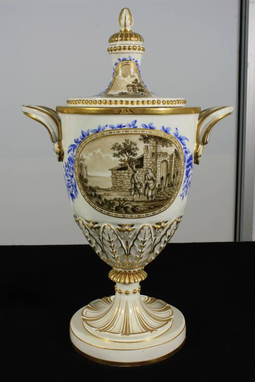 Pair of Neoclassical Italian Lidded Urns For Sale 1