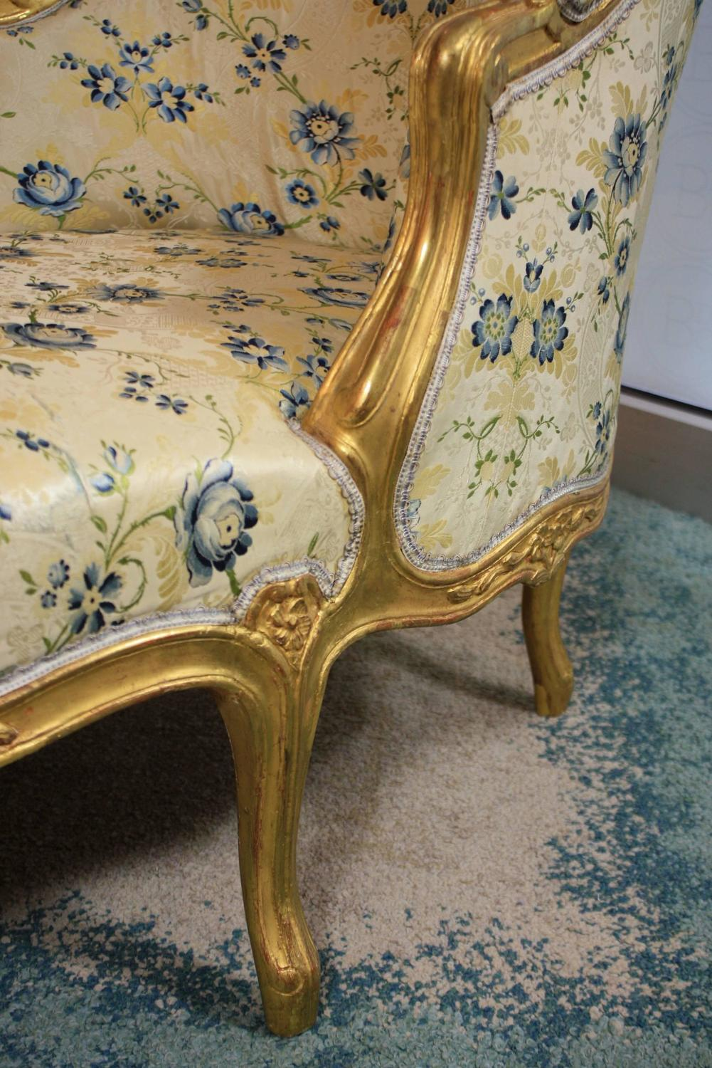 Louis xv style giltwood chaise longue for sale at 1stdibs for Chaise louis xv