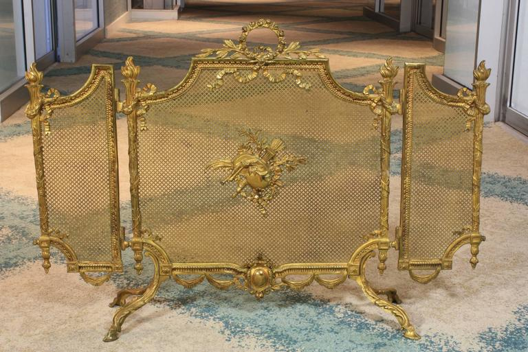 french louis xvi style gilt bronze fire screen at 1stdibs. Black Bedroom Furniture Sets. Home Design Ideas