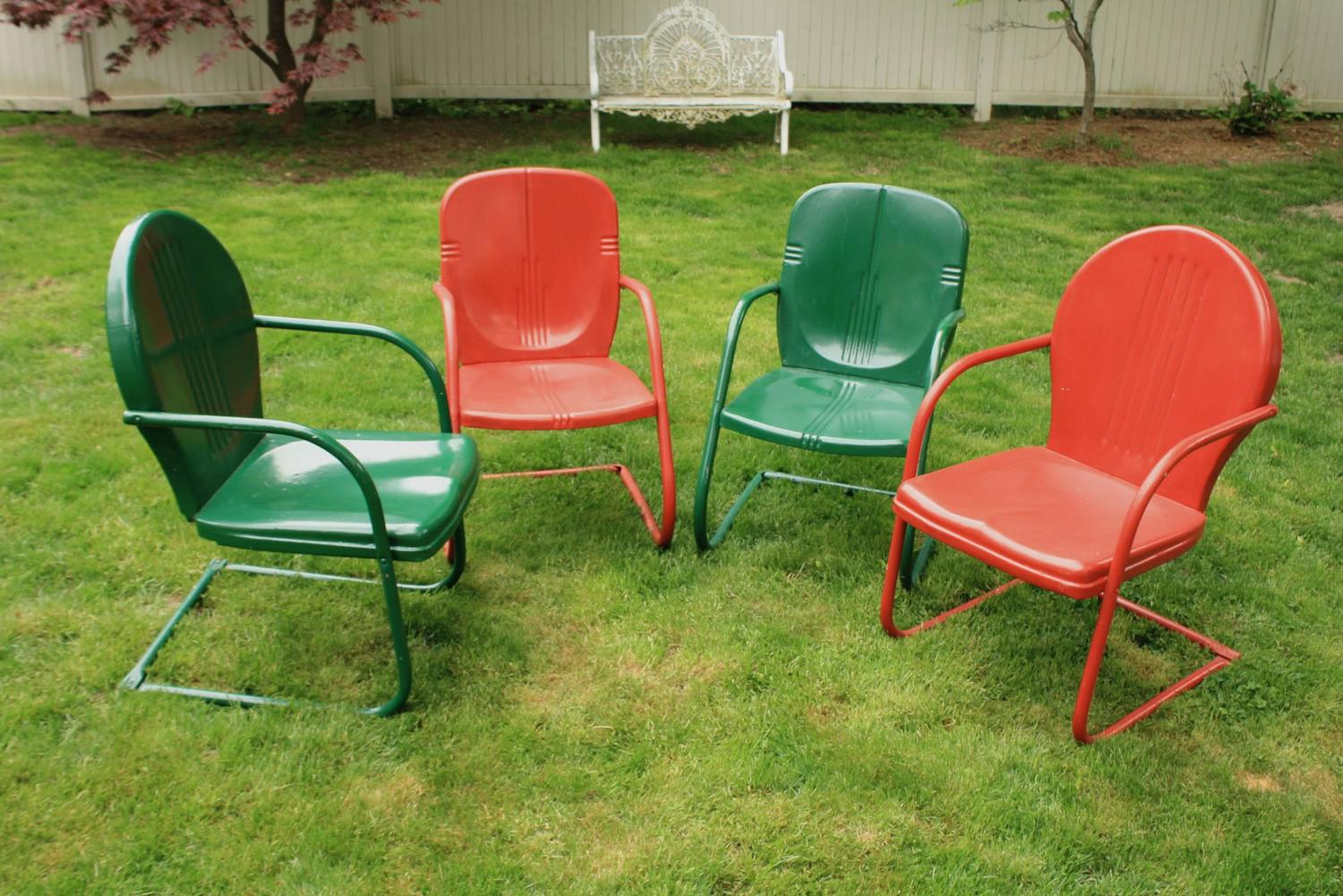 Set Of Four Painted Metal Vintage Patio Or Garden Chairs