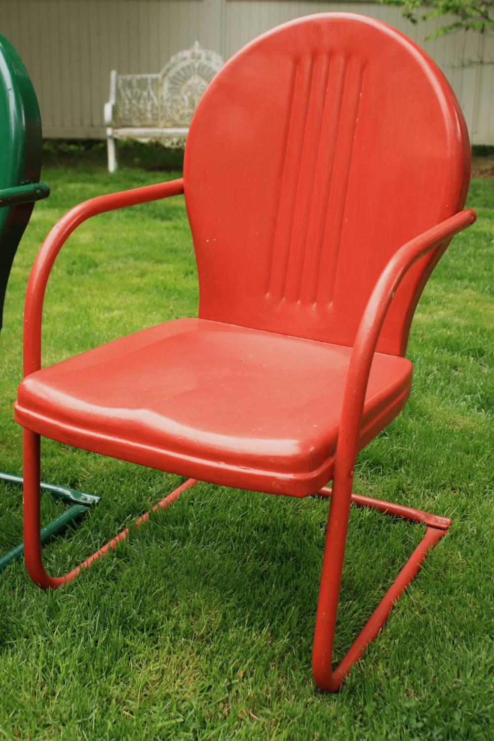 Set Of Four Painted Metal Vintage Patio Or Garden Chairs For Sale At 1stdibs