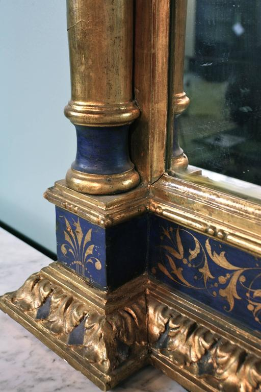 Impressive Renaissance Blue Painted and Parcel Gilt Mirror For Sale 2