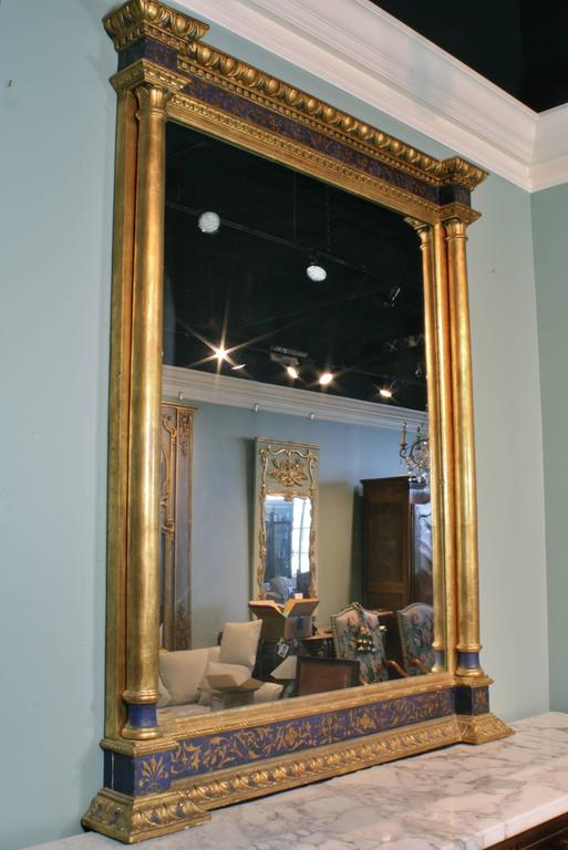 French Impressive Renaissance Blue Painted and Parcel Gilt Mirror For Sale