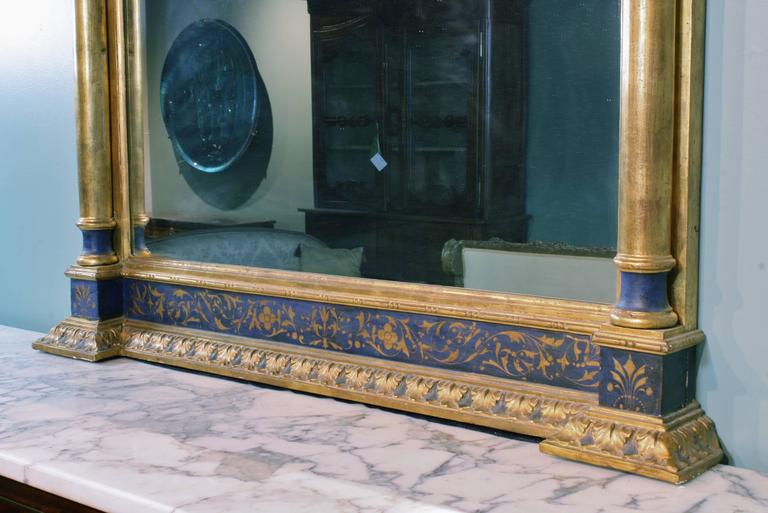 19th Century Impressive Renaissance Blue Painted and Parcel Gilt Mirror For Sale