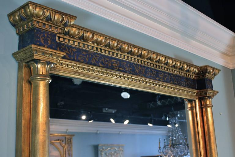 Glass Impressive Renaissance Blue Painted and Parcel Gilt Mirror For Sale