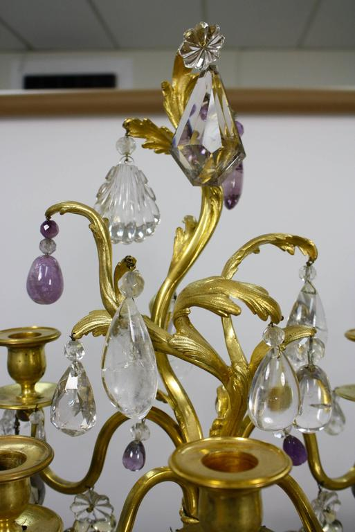 19th Century Pair of Louis XV Style Rock Crystal Girandoles For Sale