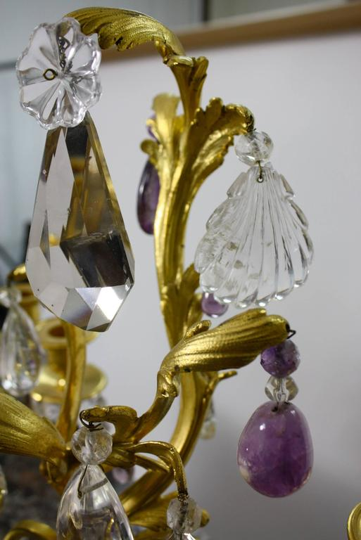 Pair of Louis XV Style Rock Crystal Girandoles In Good Condition For Sale In Charleston, SC