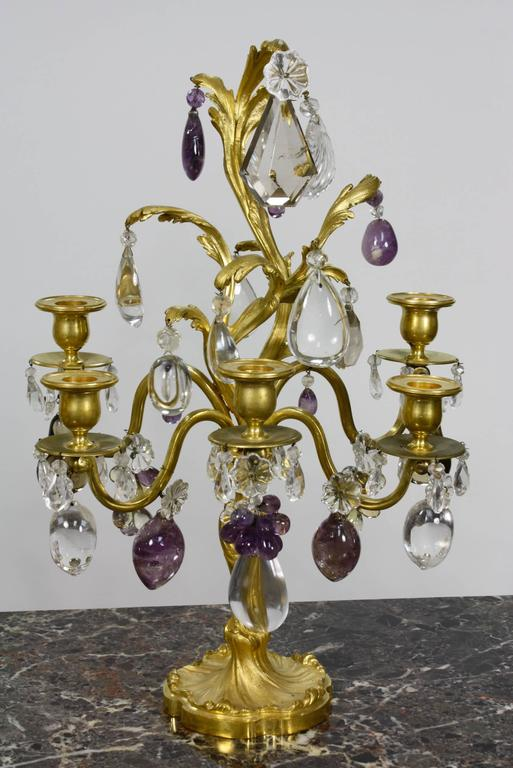 Gilt Pair of Louis XV Style Rock Crystal Girandoles For Sale