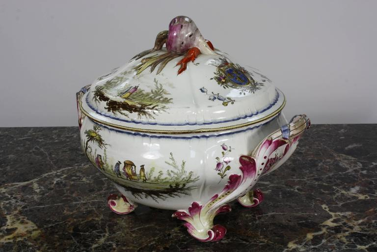 Painted French Faience Jardiniere by Veuve Perrin For Sale