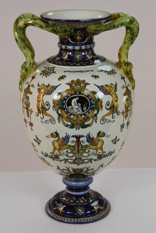 Painted Large Italian Renaissance Style Faience Vase with Snake Handles by Gien For Sale