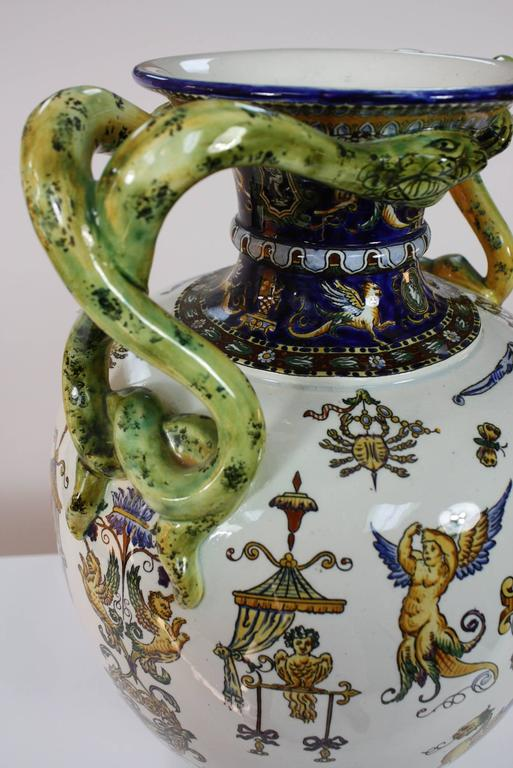 19th Century Large Italian Renaissance Style Faience Vase with Snake Handles by Gien For Sale