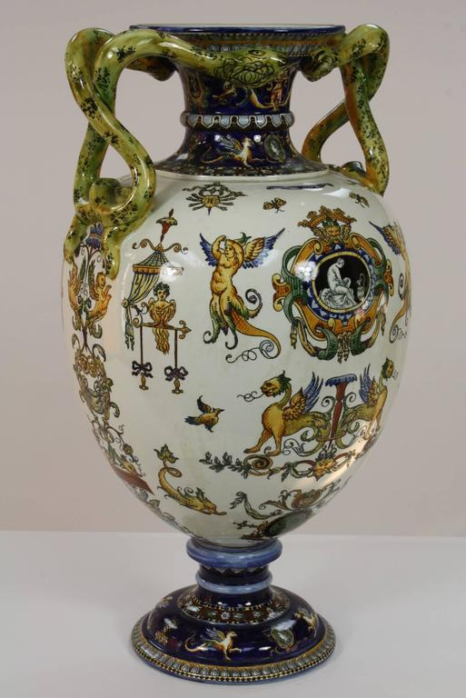 French Large Italian Renaissance Style Faience Vase with Snake Handles by Gien For Sale