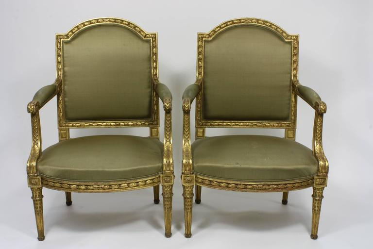 Pair of Fine Quality Louis XVI Style Giltwood Armchairs 2