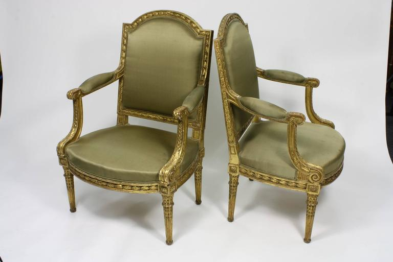 Pair of Fine Quality Louis XVI Style Giltwood Armchairs 4