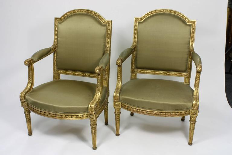 Pair of Fine Quality Louis XVI Style Giltwood Armchairs 3