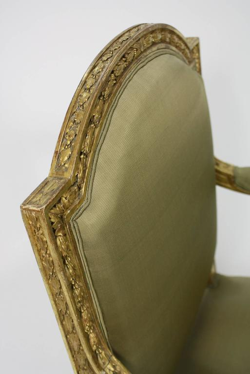 Pair of Fine Quality Louis XVI Style Giltwood Armchairs 8