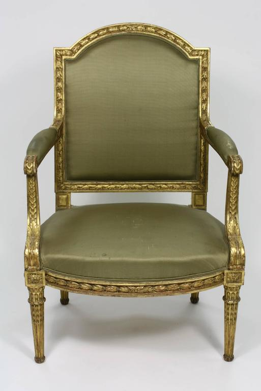 Pair of Fine Quality Louis XVI Style Giltwood Armchairs 5