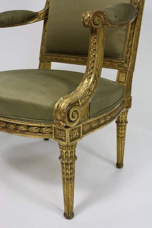 Pair of Fine Quality Louis XVI Style Giltwood Armchairs 7