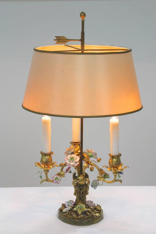 Louis XV French Gilt-Bronze and Porcelain Flower Bouillotte Lamp For Sale