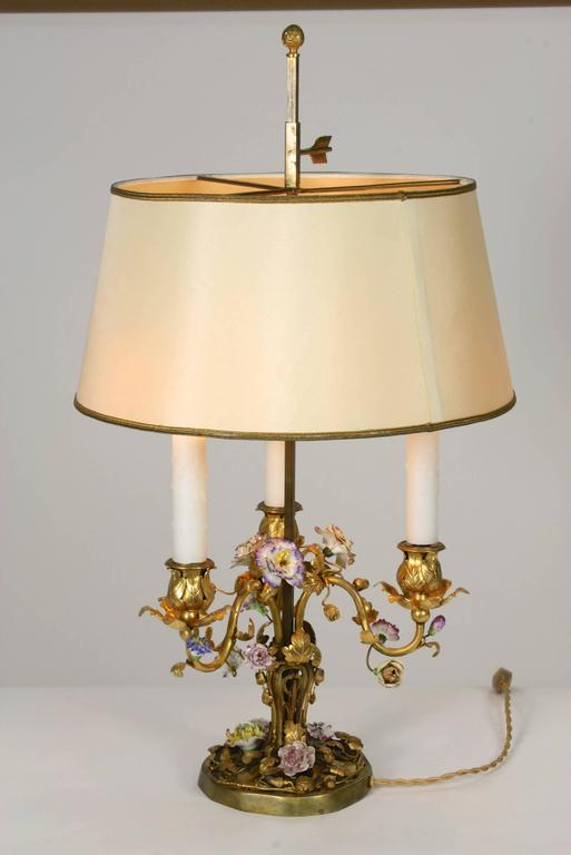 Cast French Gilt-Bronze and Porcelain Flower Bouillotte Lamp For Sale