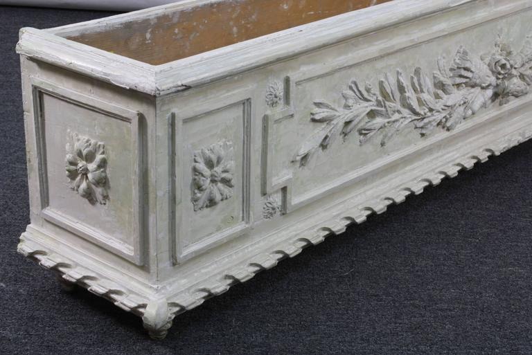 19th Century Large Painted and Carved Wood Neoclassical Planter For Sale