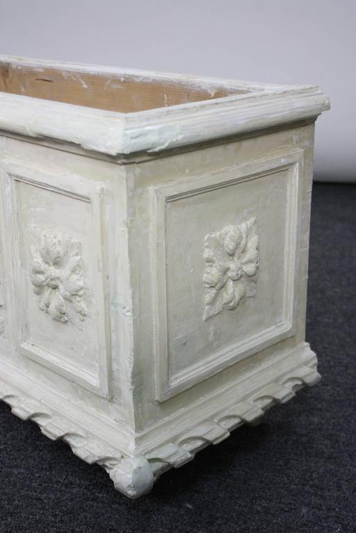 Large Painted and Carved Wood Neoclassical Planter For Sale 4