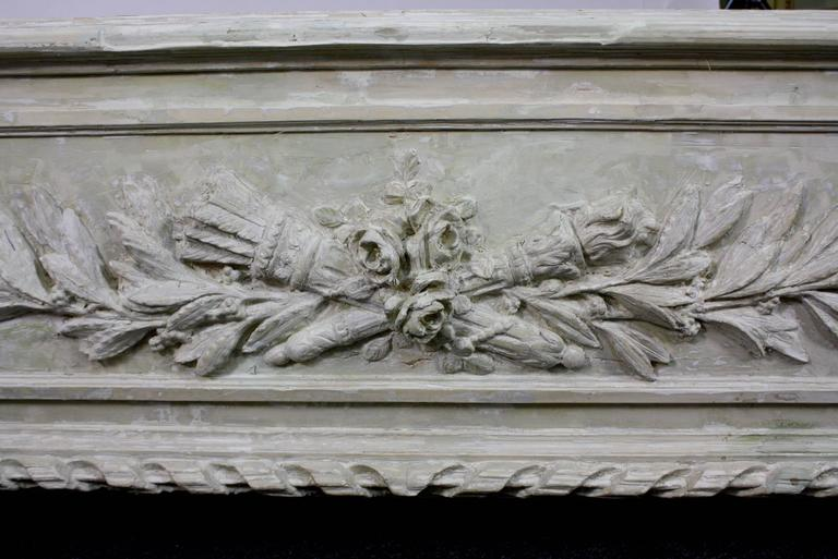Large Painted and Carved Wood Neoclassical Planter For Sale 2