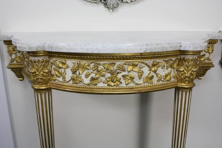 Carrara Marble Pair of Fine Quality Louis XVI Style Console Tables For Sale