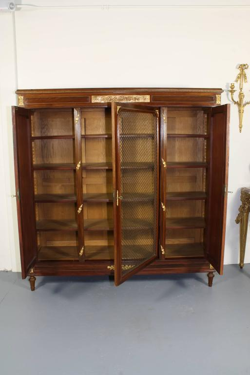 Oak French Louis XVI Style Mahogany Bibliotheque For Sale