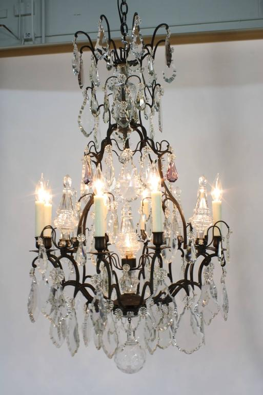 Large French Patinated Bronze and Crystal Chandelier 2