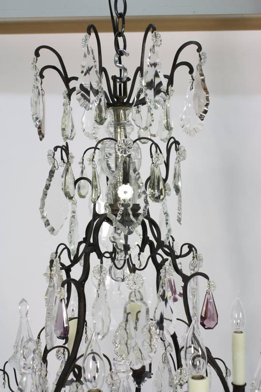 Large French Patinated Bronze and Crystal Chandelier 4