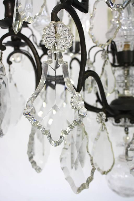 Large French Patinated Bronze and Crystal Chandelier 8