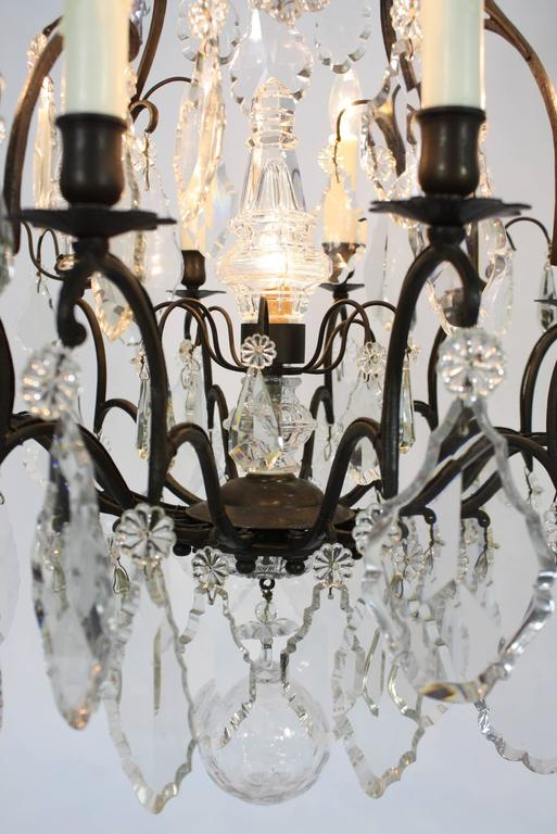 Large French Patinated Bronze and Crystal Chandelier 9