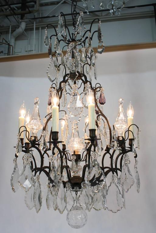 Large French Patinated Bronze and Crystal Chandelier 10