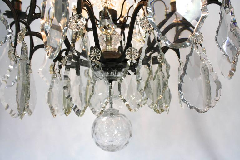 Large French Patinated Bronze and Crystal Chandelier 5