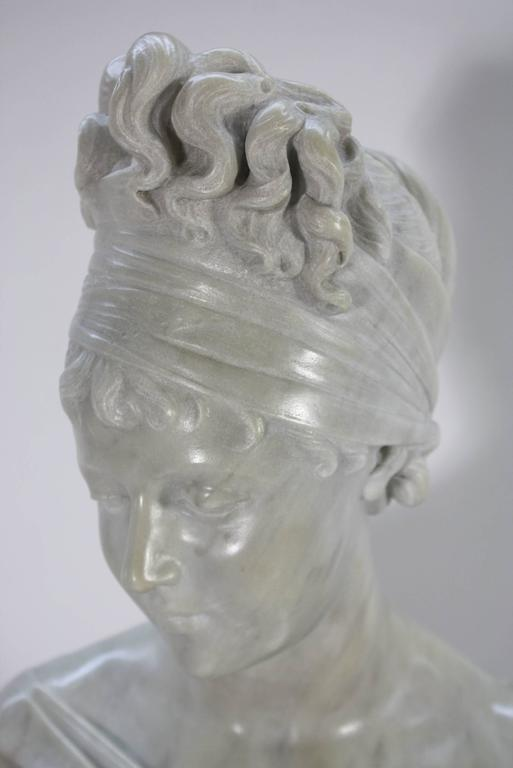 French Marble Bust of Madame Juliette Recamier on Marble Pedestal 6