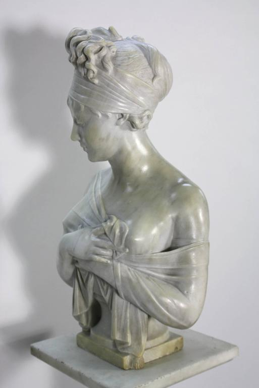 French Marble Bust of Madame Juliette Recamier on Marble Pedestal 3