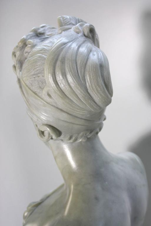 French Marble Bust of Madame Juliette Recamier on Marble Pedestal 9