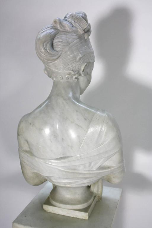 French Marble Bust of Madame Juliette Recamier on Marble Pedestal 5