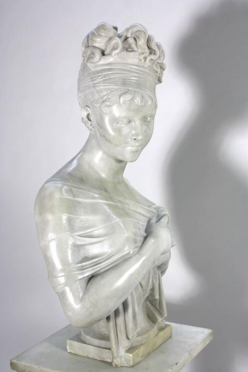 French Marble Bust of Madame Juliette Recamier on Marble Pedestal 4