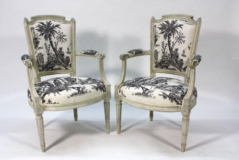 Pair of French Louis XVI Period Fauteuils or Armchairs 2