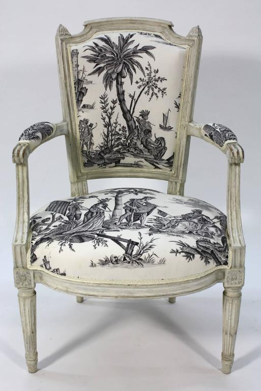 Pair of French Louis XVI Period Fauteuils or Armchairs 3