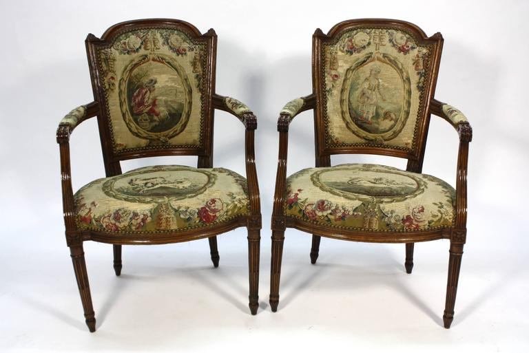 Pair of French Louis XVI Period Fauteuils Armchairs 2