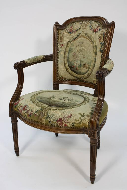 Pair of French Louis XVI Period Fauteuils Armchairs 5