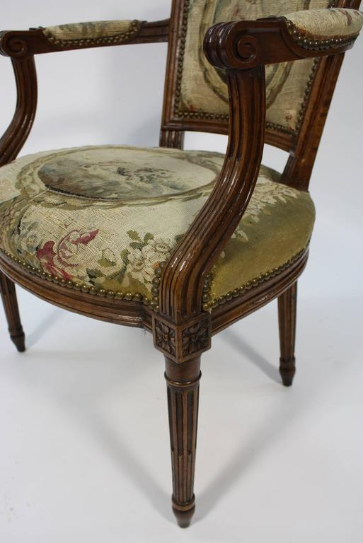 Pair of French Louis XVI Period Fauteuils Armchairs 6