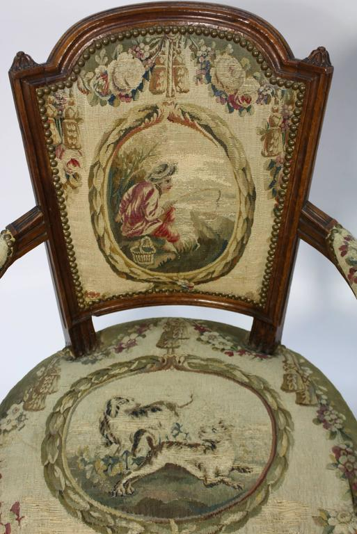 Pair of French Louis XVI Period Fauteuils Armchairs 7