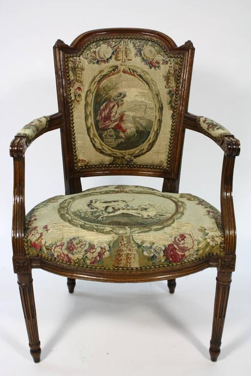 Pair of French Louis XVI Period Fauteuils Armchairs 3