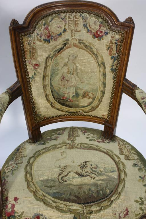 Pair of French Louis XVI Period Fauteuils Armchairs 8