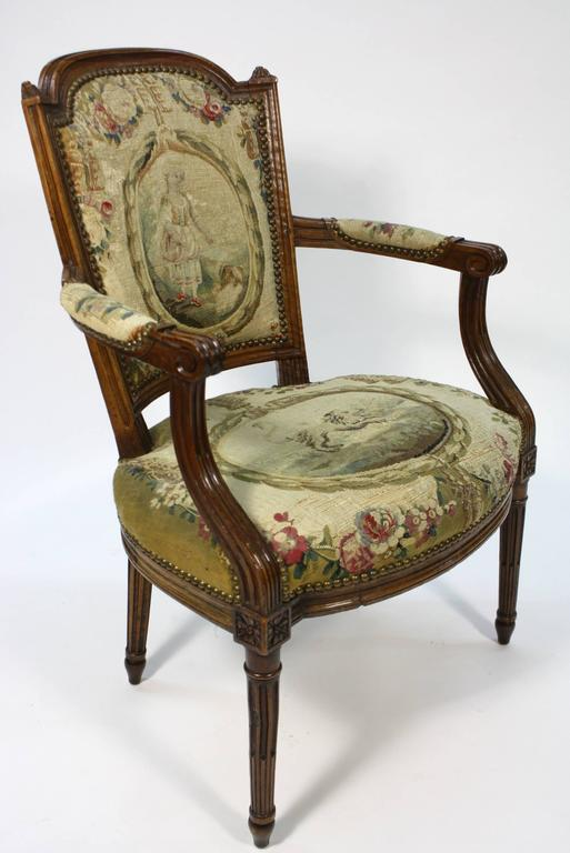 Pair of French Louis XVI Period Fauteuils Armchairs 4