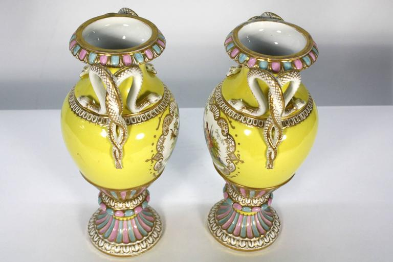 French Pair of Meissen Porcelain Vases with Snake Handles For Sale